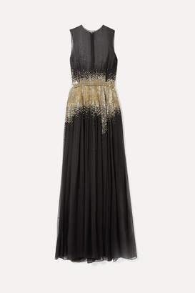 Oscar de la Renta Embellished Silk-chiffon Gown - Black