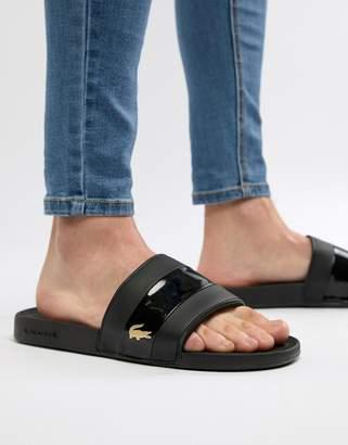 Lacoste Fraisier Gold Croc Sliders In Black