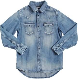 Diesel Washed Light Stretch Cotton Denim Shirt