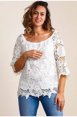 Asstd National Brand Plus Off Shoulder Crochet Blouse