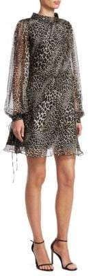 Badgley Mischka Leopard-Print Long-Sleeve Silk Trapeze Dress