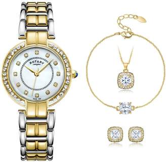 Rotary Mother of Pearl Dial Two-Tone Ladies Watch with Necklace, Bracelet and Earring Set