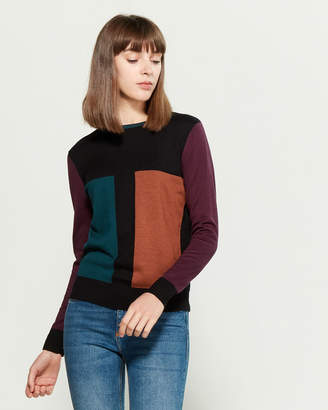 YAL New York Rectangle Color Block Long Sleeve Sweater