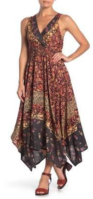Angie Floral Paisley Printed Handkerchief Hem Midi Dress