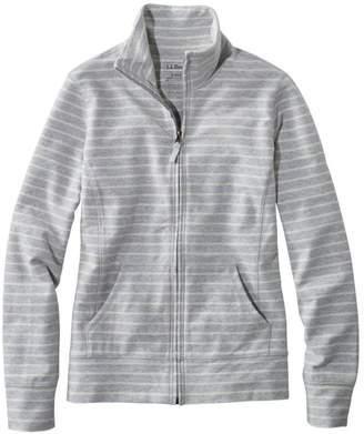 L.L. Bean L.L.Bean Women's Ultrasoft Sweats, Full-Zip Mock-Neck Jacket Stripe