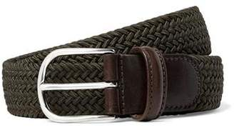 Andersons Anderson's Leather Stretch Woven Belt in Olive