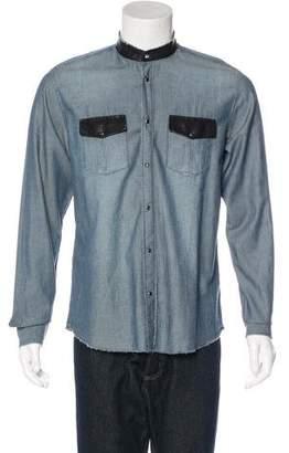 IRO Leather-Trimmed Herringbone Shirt
