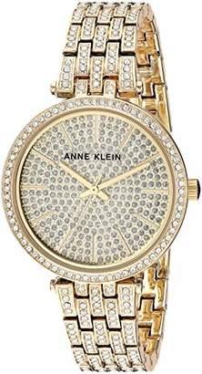 Anne Klein Women's AK/3320PVGB Swarovski Crystal Accented -Tone Bracelet Watch