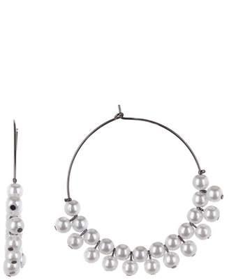 Free Press 60mm Synthetic Pearl Hoop Earrings