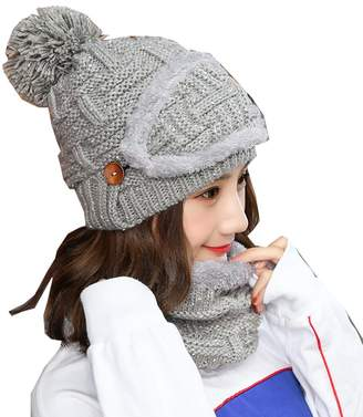 c046a596df48e0 e-youth 3-Pieces Winter Hat Scarf Mask Set, Warm Knit Beanie Hat