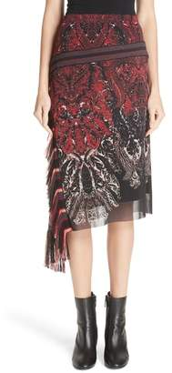 Fuzzi Mixed Paisley Fringe Skirt