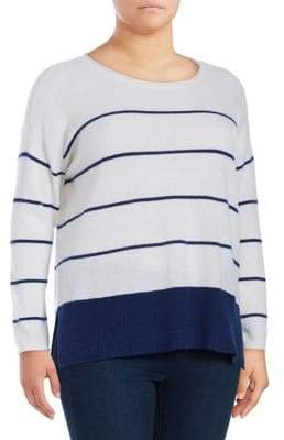 Lord & Taylor Plus Striped Cashmere Sweater