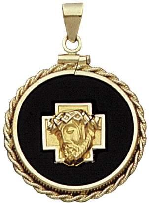 14K Yellow Gold Christ Head Charm on Black OnyxDisc