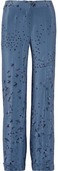 ValentinoValentino - Swallow Metamorphosis Printed Silk Crepe De Chine Wide-leg Pants - Blue