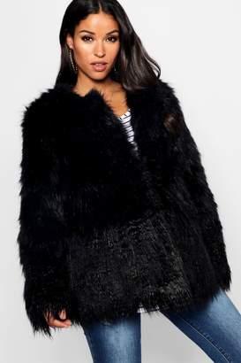 boohoo Maternity Mixed Faux Fur Coat