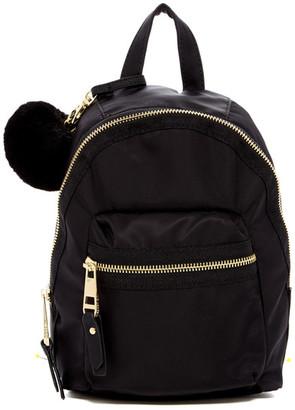 Madden Girl Bold Faux Fur Pompom Mini Nylon Backpack $58 thestylecure.com