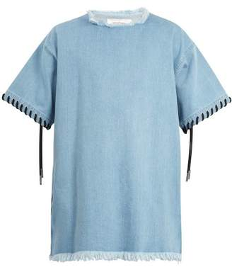 Marques'almeida - Lace Up Cuff Denim T Shirt - Mens - Blue