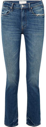 Mother The Flirt Chew Distressed Mid-rise Slim-leg Jeans - Mid denim
