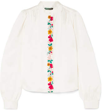 ALEXACHUNG Embroidered Satin Blouse - Ivory