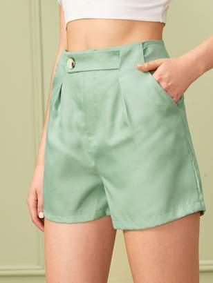 Shein Button Front Solid Shorts