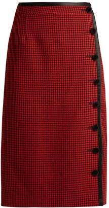 Christofor hound's-tooth wool pencil skirt
