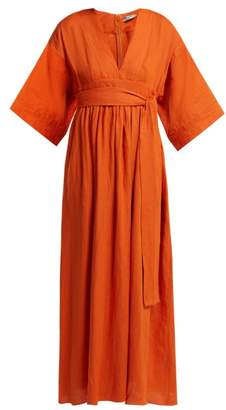 Three Graces London Ferrers Tie Waist Linen Dress - Womens - Orange