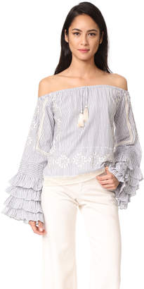 Love Sam Off the Shoulder Ruffle Sleeve Blouse $255 thestylecure.com