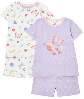 John Lewis & Partners Girls' Butterfly Pyjamas, Pack of 2, Multi