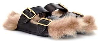 Prada Fur-lined leather sandals