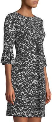 Tahari ASL 3/4 Tulip-Sleeve Polka Dot Lace-Up Front Dress