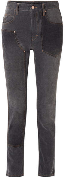 Orrick Paneled High-rise Slim-leg Jeans - Black