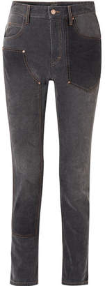 Isabel Marant Orrick Paneled High-rise Slim-leg Jeans - Black