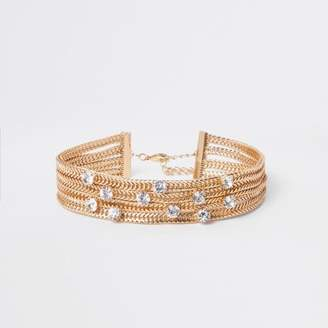 River Island Gold tone chunky layered snake chain choker