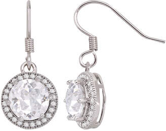 BRIDGE JEWELRY Silver-Tone Round Cubic Zirconia Drop Earrings