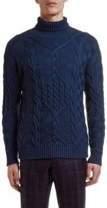 Etro Men's Cable-Knit Turtleneck Sweater