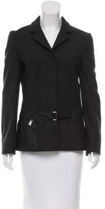Prada Leather-Trimmed Wool Jacket