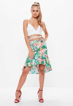 Missguided Green Floral Print Frill Hem Midi Skirt