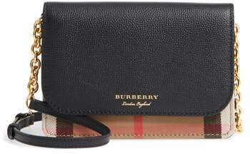Burberry Hampshire House Check & Leather Wallet on a Chain