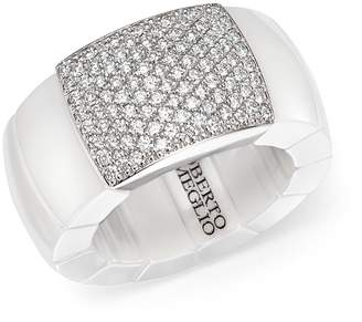 Roberto Demeglio 18K White Gold & White Ceramic Domino Stretch Ring with Diamonds