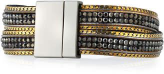 Panacea Hematite & Leather Crisscross Bracelet