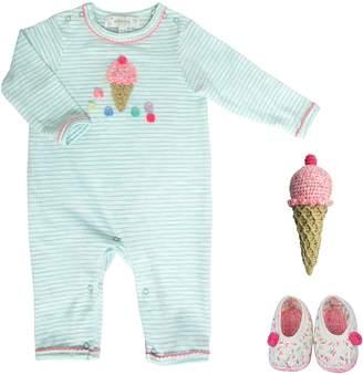 Albetta Crochet Ice Cream Romper, Rattle & Booties Set