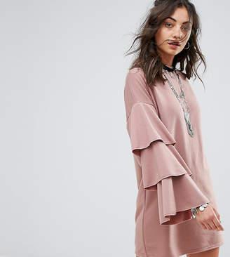 Glamorous Tall Sweat Dress With Double Ruffle Sleeve Detail