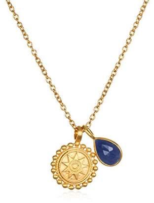 Satya Jewelry Womens Mandala Aquamarine Birthstone Pendant Necklace 16-Inch +2-Inch Extension