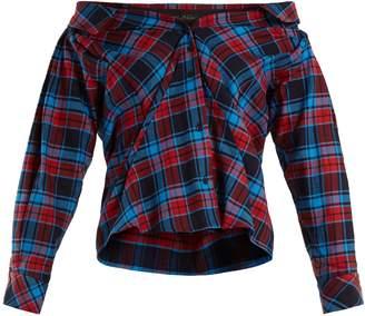 DAY Birger et Mikkelsen ANNA OCTOBER Off-the-shoulder checked cotton shirt