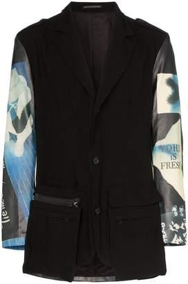 Yohji Yamamoto graphic print leather panelled blazer jacket
