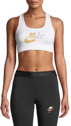 Nike Swoosh Metallic Logo Sports Bra