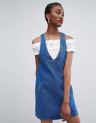 New Look Deep V Neck Pinny Dress