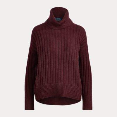 Ralph Lauren Alpaca-Wool Turtleneck Sweater Wine S