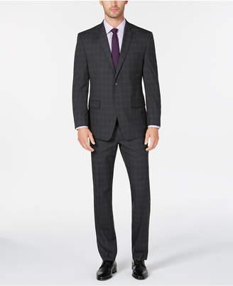 Andrew Marc Men Modern-Fit Gray Plaid Suit