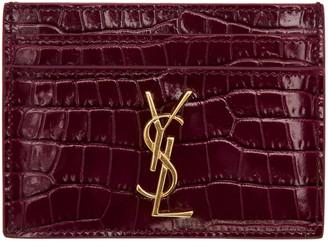 Saint Laurent Burgundy Croc-Embossed Monogram Card Holder $265 thestylecure.com